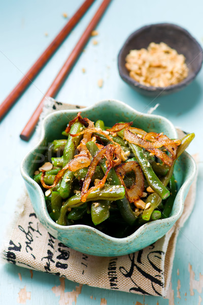азиатских зеленая фасоль Салат избирательный подход продовольствие зеленый Сток-фото © zoryanchik