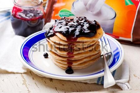 áfonya vanília fehérje palacsinták reggeli ebéd Stock fotó © zoryanchik