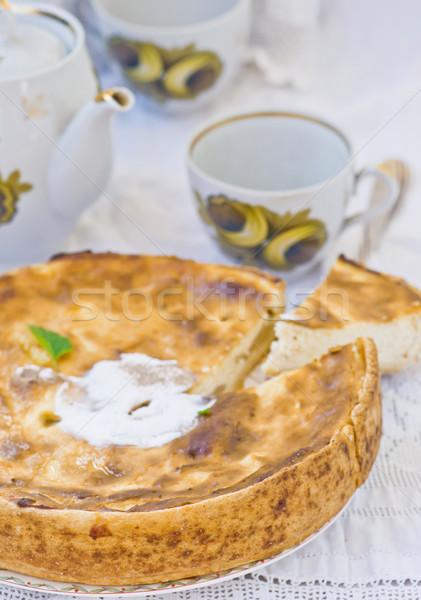 Maçãs requeijão torta foco comida bolo Foto stock © zoryanchik