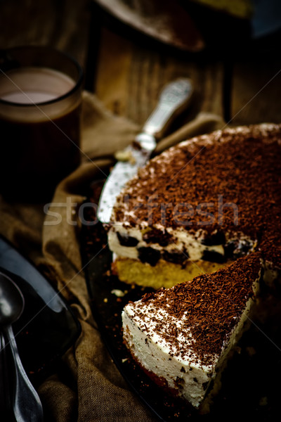 cheesecake with prunes and chocolate cut on pieces  Stock photo © zoryanchik