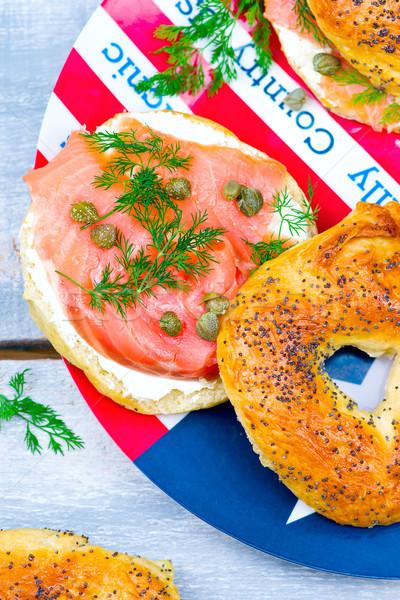 Stok fotoğraf: Simit · krem · peynir · seçici · odak · ekmek