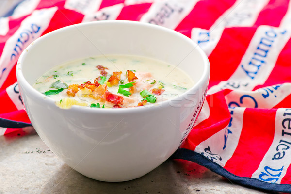 chowder with a salmon and bacon  Stock photo © zoryanchik