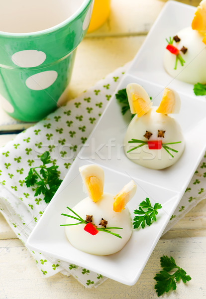 Gekochtes Ei bunny Kaninchen Party selektiven Fokus Kinder Stock foto © zoryanchik