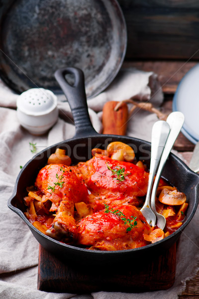 Marengo chicken in a frying pan. . selective focus Stock photo © zoryanchik