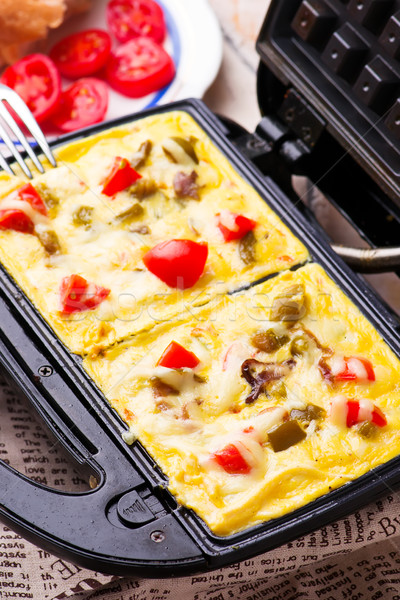 waffle omelet with vegetables Stock photo © zoryanchik