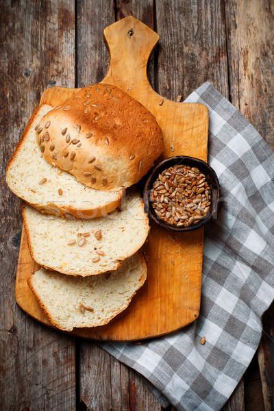 Whole Wheat Sunflower Honey Oatmeal Bread. .style rustic Stock photo © zoryanchik