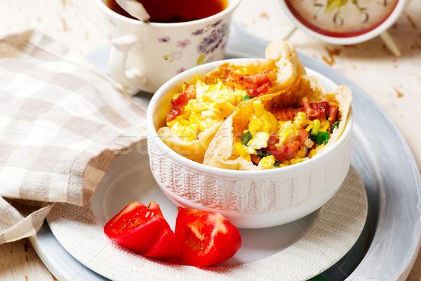 Breackfast omelette pita.selective focus Stock photo © zoryanchik