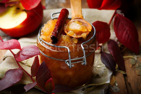 Azúcar moreno canela frutas verano mesa postre Foto stock © zoryanchik