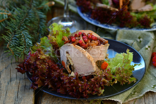 salad with marinated mushrooms, cowberry and meat  Stock photo © zoryanchik