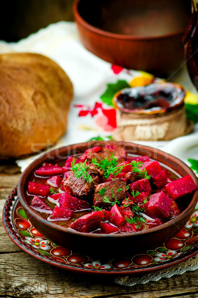 braised beef with beet.  Stock photo © zoryanchik