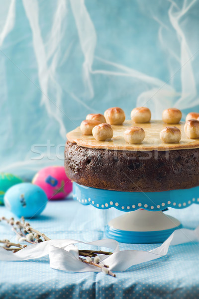 Torta hagyományos angol húsvét marcipán szelektív fókusz Stock fotó © zoryanchik