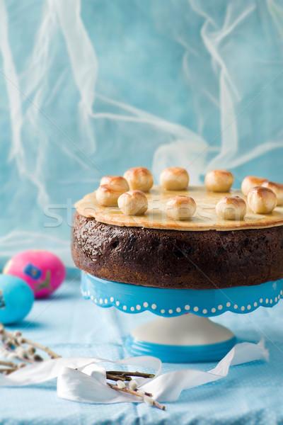 Cake traditioneel Engels Pasen marsepein selectieve aandacht Stockfoto © zoryanchik