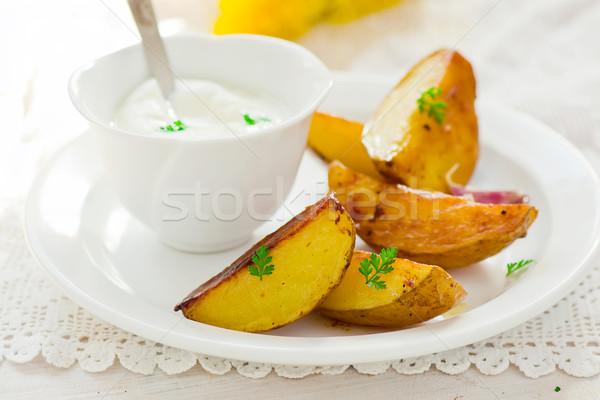 Sült krumpli mártás fehér tányér stílus Stock fotó © zoryanchik