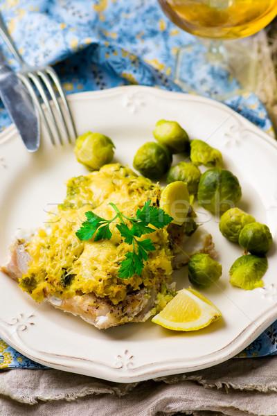 Sült hal filé káposzta szelektív fókusz vacsora Stock fotó © zoryanchik
