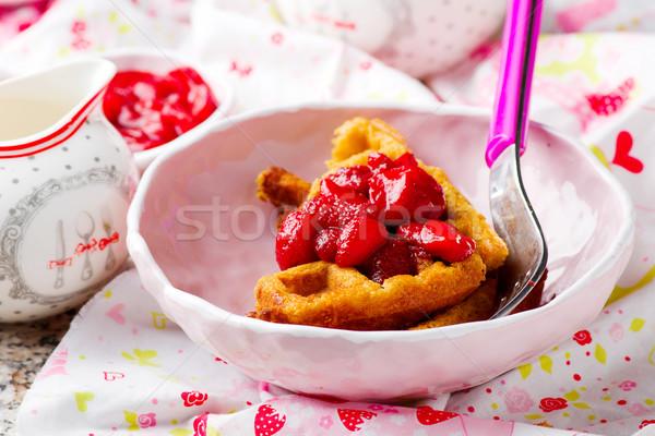 Beurre d'arachide fraise fruits fond déjeuner fraîches Photo stock © zoryanchik