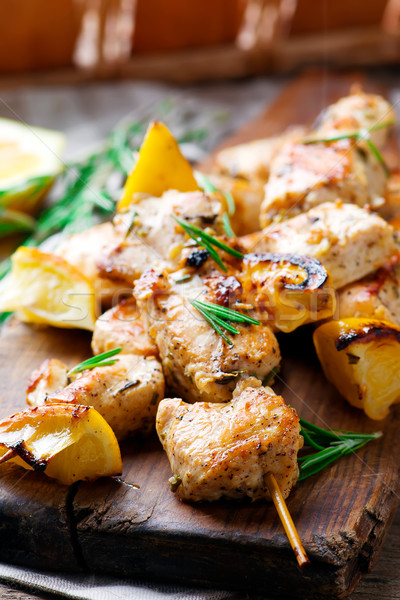 Chicken kebab with lemon Stock photo © zoryanchik