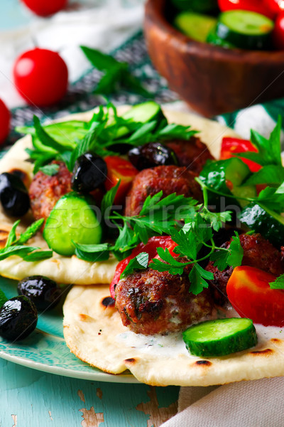 Greek meatbolls keftedes with pita and tzatziki Stock photo © zoryanchik