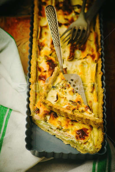 quiche with leek and a salmon.  Stock photo © zoryanchik