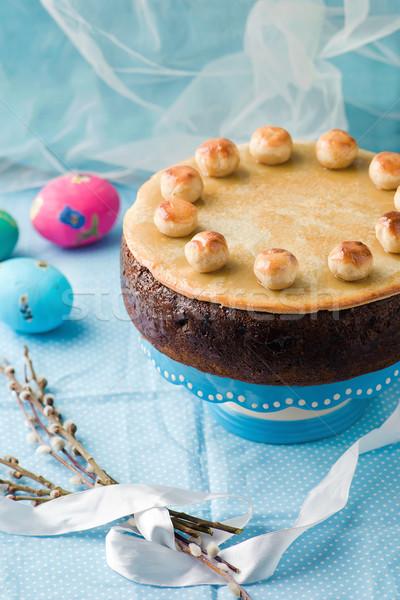 Stockfoto: Cake · traditioneel · Engels · Pasen · marsepein · selectieve · aandacht
