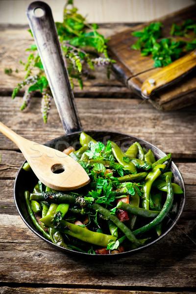 green beans, stewed with panchetta Stock photo © zoryanchik