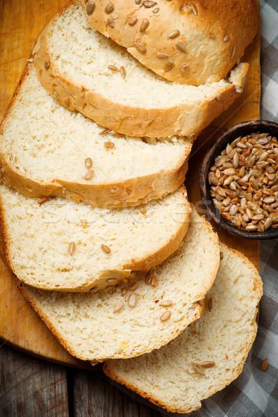 Teljeskiőrlésű búza napraforgó méz kása kenyér stílus Stock fotó © zoryanchik