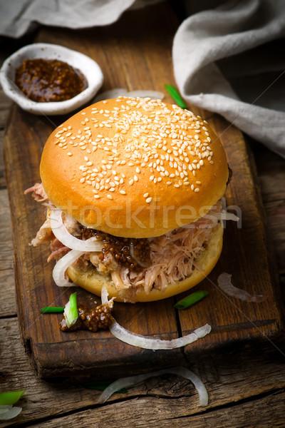 豚肉 素朴な 鶏 ディナー 小麦 サンドイッチ ストックフォト © zoryanchik