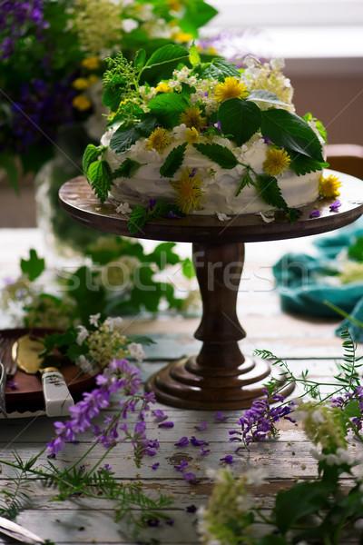 Limon kek buzlanma gıda Stok fotoğraf © zoryanchik