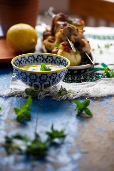 Tyúk gyűlés citrom tábla friss barbecue Stock fotó © zoryanchik