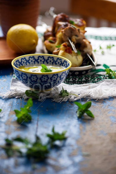 chicken haloumi skewers.food gathering Stock photo © zoryanchik