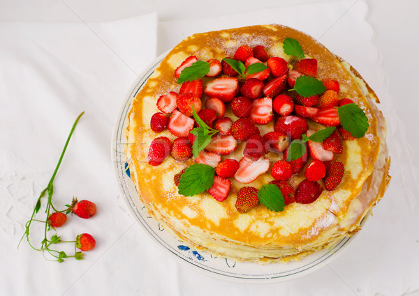 blinis pie with srawberry  Stock photo © zoryanchik