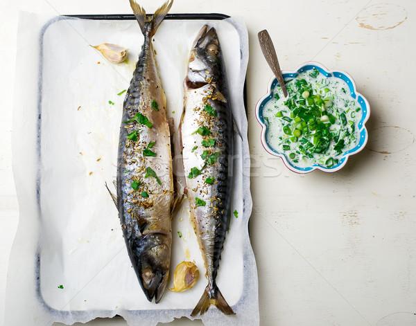 Makréla grill mártás egészséges étel felső kilátás Stock fotó © zoryanchik