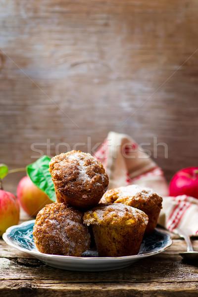 Muffinok almák zab pelyhek stílus rusztikus Stock fotó © zoryanchik