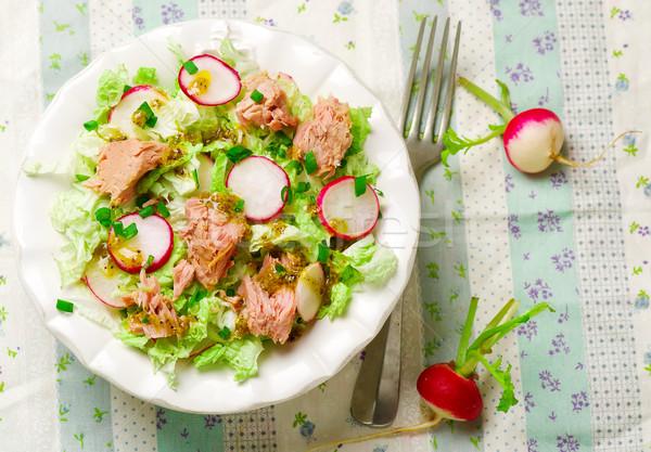 Ton balığı lahana salata plaka yeme beyaz Stok fotoğraf © zoryanchik