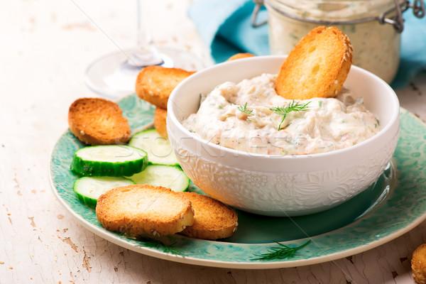 Gerookte zalm voedsel kaas ontbijt room Stockfoto © zoryanchik