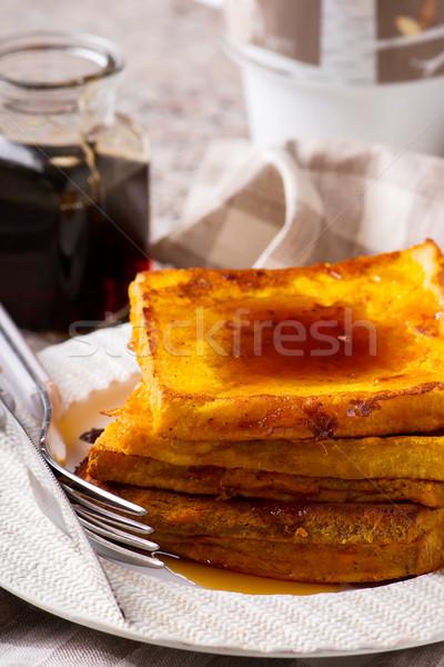 Sütőtök francia pirítós étel gyümölcs kenyér Stock fotó © zoryanchik