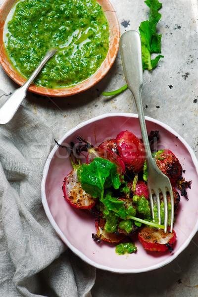 ızgara turp odak yeşil soğan Stok fotoğraf © zoryanchik