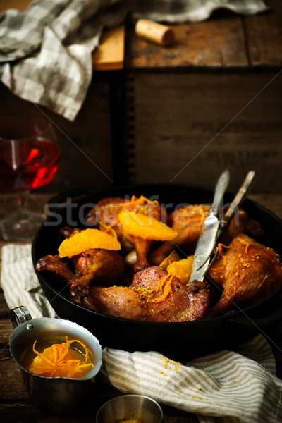 slow roast duck with orange.style rustic. Stock photo © zoryanchik