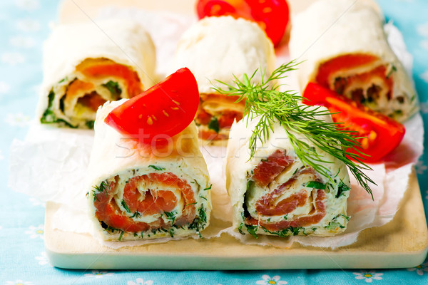 flat  bread roll with cream cheese and salmon Stock photo © zoryanchik