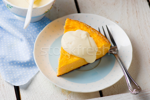 Calabaza tarta de queso queso postre vacaciones pie Foto stock © zoryanchik