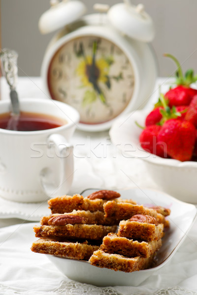 pecan shortbread bars.style vintage Stock photo © zoryanchik