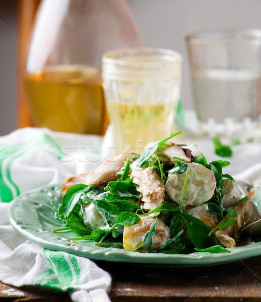 Warm nieuwe aardappel gerookt makreel salade Stockfoto © zoryanchik