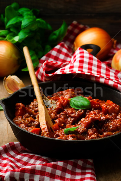 ragout with meat and vegetables in a frying pan. style rustic . Stock photo © zoryanchik