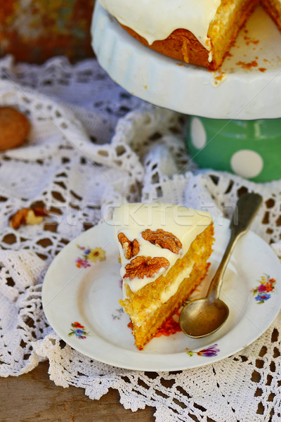 carrot cream pie from cottage cheese  Stock photo © zoryanchik