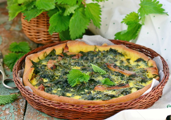 homemade nettle quiche  Stock photo © zoryanchik
