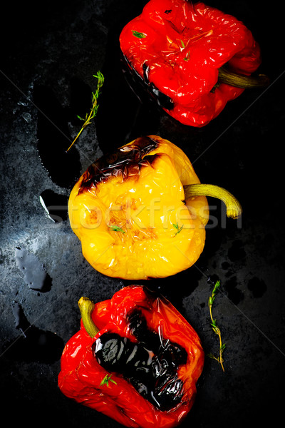 Stock photo: sweet pepper a grill on a baking sheet