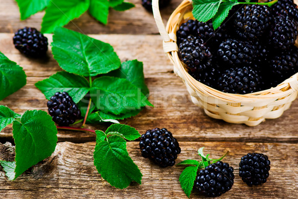 fresh blackberry in to the basket Stock photo © zoryanchik