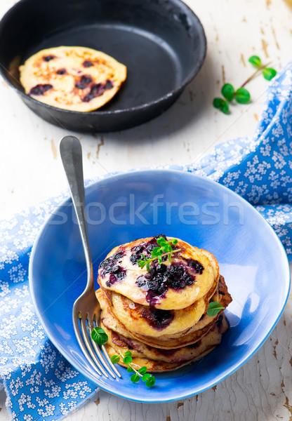 Stock fotó: Kása · palacsinták · áfonya · reggeli · ebéd · édes