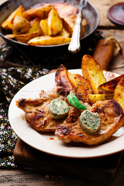 Veal Chops with Sage Butter.selective focus Stock photo © zoryanchik