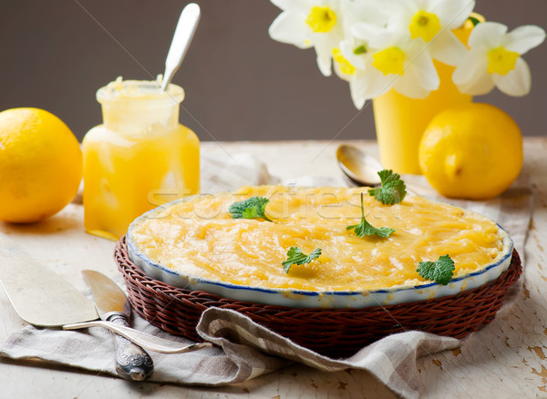 Ruibarbo limão bolo rústico foco sobremesa Foto stock © zoryanchik