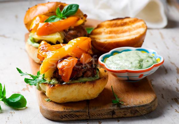 Törökország rusztikus szelektív fókusz friss hamburger egészséges Stock fotó © zoryanchik